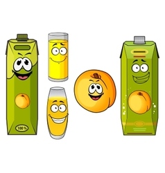 Cartoon peach juice packs fruits and glasses vector image