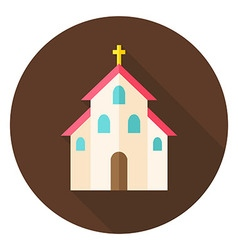 Christian Religion Church with Cross Circle Icon vector image vector image