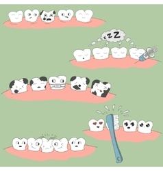 cute cartoon tooth expression set vector image vector image