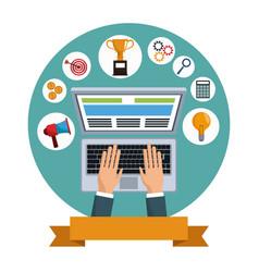 Digital marketing laptop social media vector