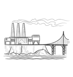 Factory industrial landscape vector