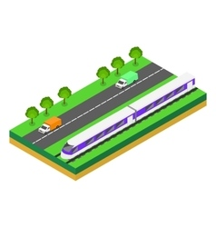 Fast train near highway vector