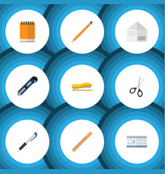 Flat icon tool set of supplies pencil notepaper vector