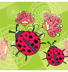 flowers and ladybird vector image vector image