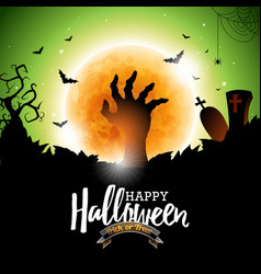 happy halloween with bats zombie hand and moon on vector image