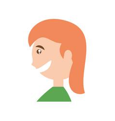 Happy woman face cartoon vector