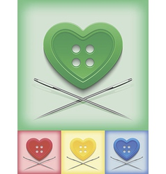 Heart shaped button and crossed needles vector
