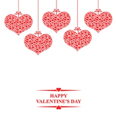 hearts bow hanging vector image vector image