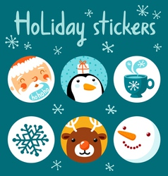 Holiday stickers vector image