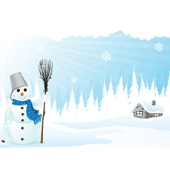 Hut and snowman vector image