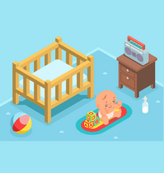 isometric cute kid child nursery room flat design vector image