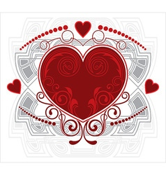 Love heart floral design vector