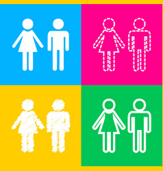 Male and female sign four styles of icon on four vector