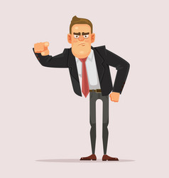 Man businessman boss office worker pointing finger vector