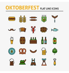 Oktoberfest Beer Colorful Flat Line Icons Set vector image