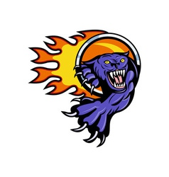 Panther attacking with ring of fire vector image vector image