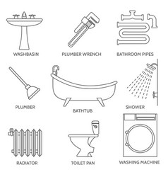 pipeline plumbing icons in thin line style vector image