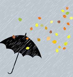 Rainy autumn background vector