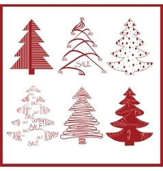 red decorative fir trees on a white background vector image vector image