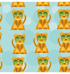 Seamless pattern with funny cute jaguar animal on vector image vector image