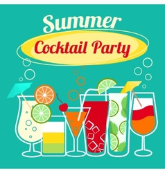 Summer cocktails party template vector image vector image
