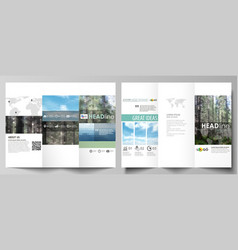 Tri-fold brochure templates on both sides vector