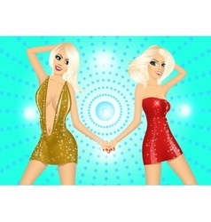 two sexy blonde girls holding each others hands vector image