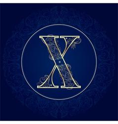 Vintage floral alphabet letter X vector image vector image