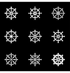 white rudder icon set vector image
