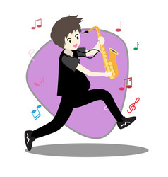 Young boy playing saxophone vector