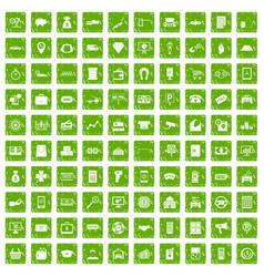 100 coin icons set grunge green vector
