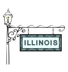 Illinois retro pointer lamppost vector