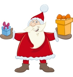 Santa claus with gifts cartoon vector
