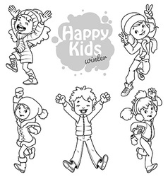 Very happy kids in winter clothes vector