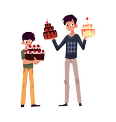 Father and son holding birthday cakes getting vector