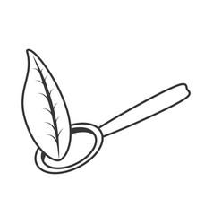 spoon chicken organic food outline vector image
