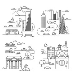 city design elements linear style vector image