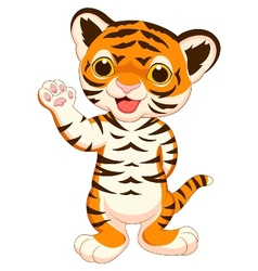 Cute baby tiger cartoon waving vector image