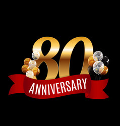 Golden 80 years anniversary template with red vector