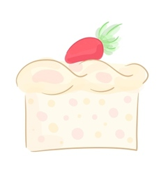 Piece of strawberry cake vector