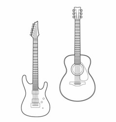 Drawing two guitars vector
