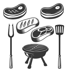 Grill raw meat grilled meat fire design elements vector