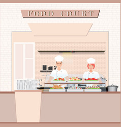Chef cooking at food court in a shopping mall vector