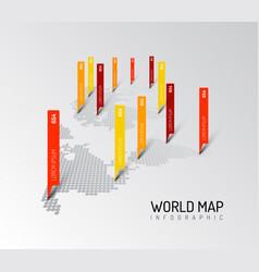 Light world map infographic template vector