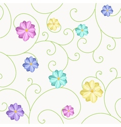 Background with flowers and curls vector image