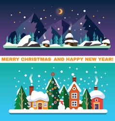 New year and christmas landscapes vector