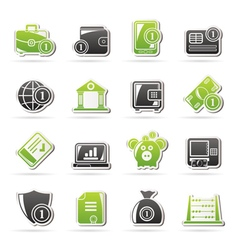 Financial banking and money icons vector