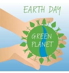 Human hands holding earth save earth concept vector