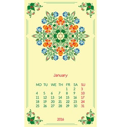 Template calendar 2016 for month january vector