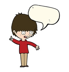 Cartoon boy with question with speech bubble vector